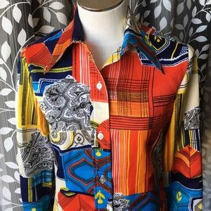 Vintage Lady Manhattan Shirt Blouse Disco hippie